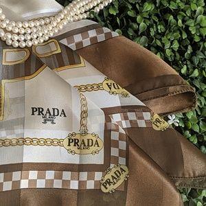 NEW Rare Vintage Designer Prada 100% Silk Scarf!